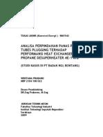 ITS-Undergraduate-6870-2104100022-ANALISA PERPINDAHAN PANAS PENGARUH TUBES PLUGGING TERHADAP PERFORMANSI HEAT EXCHANGER PROPANE DESUPERHEATER 4E-1 AB