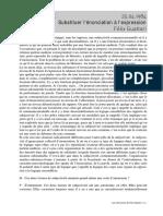 Psychanalyse - Guattari 19840425 Substituer L'Énonciation À L'Expression