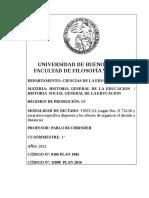 Programa Historia Social General de la Educacion 2021