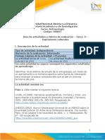 Guia de actividades y Rúbrica de evaluación - Tarea 3 - Expresiones culturales