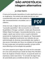 A SUCESSÃO APOSTÓLICA