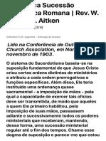 A Herética Sucessão Apostólica Romana | Rev. W. Hay M. H. Aitken — Reformata Publishing House