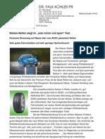 """Nokian-Reifen siegt im """"auto motor und sport"""" Test / Kürzester Bremsweg auf Nässe aller vom ADAC getesteten Reifen / Sehr gutes Fahrverhalten und sehr geringer Spritverbrauch"""