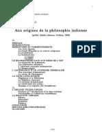 Aux Origines de La Philosophie Indienne