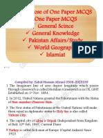 One Paper PS, GK & Islamiat MCQS 04-04-2021