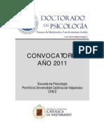 Convocatoria Doctorado Psicologia Universidad Católica de Valparaíso
