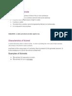 Characteristics of Solute