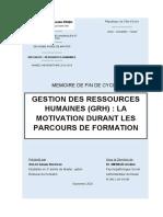 MEMOIRE DE FIN DE CYCLE PAGE DE GARDE