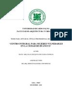 MONOGRAFÍA-CENTRO INTEGRAL PARA MUJERES VULNERABLES EN LA CIUDAD DE HUÁNUCO - BLAS