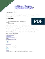 Desabilitar o Debugger Exception Notification do Delphi