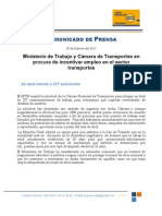 Ministerio de Trabajo y Cámara de Transportes en procura de incentivar empleo en el sector transportes Feb. 25, 2011