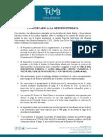 Comunicado del Hospital Julio Méndez Barreneche