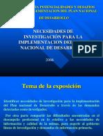 2006 Plan Nacional de Desarrollo neces de investig
