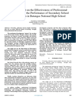 An Assessment on the Effectiveness of Professional Advancement in the Performance of Secondary School TLE Teachers in Batangas National High School