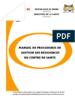 Manuel de Procedures de Gestion Des Ressources Du Centre de Sante