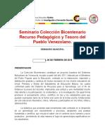 Seminario Colección Bicentenario Recurso Pedagógico y Tesoro del Pueblo Venezolano
