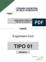 Consulplan 2018 Camara de Belo Horizonte Mg Engenheiro Civil Prova
