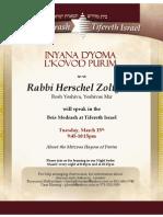 Rabbi Herschel Zolty speaking about Purim