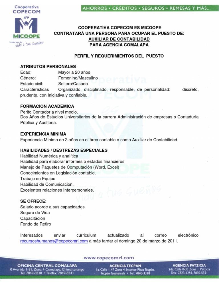 PERFIL PARA CONTRATAR AUXILIAR DE CONTABILIDAD