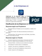 Clasificación de Empresas en Venezuela