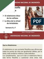 El relativismo de los sofistas y ètica de la virtud de Aristóteles.