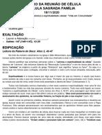 ROTEIRO DA REUNIÃO DE CÉLULA