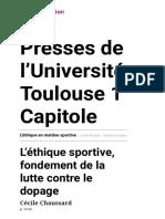 L'éthique en matière sportive - L'éthique sportive, fondement de la lutte contre le dopage - Presses de l'Université Toulouse 1 Capitole