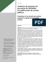Tema B - texto 4 - artigo avaliação de programa de prevenção de obesidade em adolescentes de escolas publicas