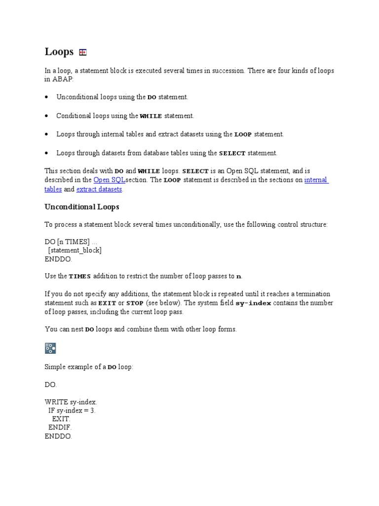 loops in abap | Flujo de control | Cadena (Ciencias de la
