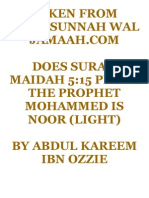 Does surah Maidah 5.15 prove the prophet Mohammed is noor (light)