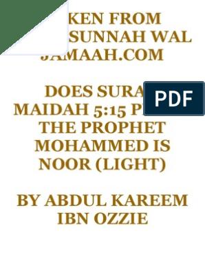 Does surah Maidah 5 15 prove the prophet Mohammed is noor