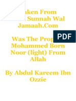 Was the Prophet Mohammed Born Noor (light)