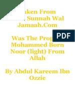 Was the Prophet Mohammed Born Noor (light)