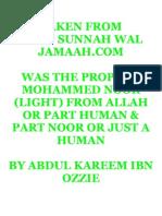 Was the Prophet Mohammed Noor (light)