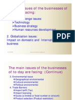 Main Issues of Business of To-day are Facing