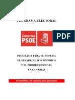 CANARIAS PSOE - PROGRAMA PARA EL EMPLEO, EL DESARROLLO ECONÓMICO Y PROGRESO SOCIAL EN CANARIAS