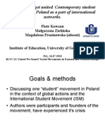 Struggling to get united. Contemporary student movement in Poland as a part of international networks.