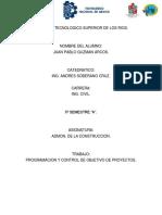 programación y control de objetivos del proyecto