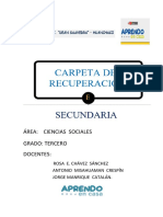 CARPETA  DE   RECUPERACION  3ER GRADO CCSS