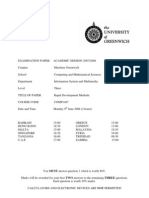 Sample of Rapid Development Methods Exam (June 2008) - UK University BSc Final Year