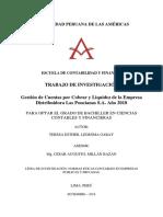 GESTIÓN DE CUENTAS POR COBRAR Y LIQUIDEZ DE LA EMPRESA DISTRIBUIDORA LAS PONCIANAS S.A. AÑO 2018