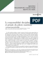 La responsabilité disciplinaire et penal du pilote maritime
