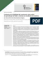 3. Evaluación de la fiabilidad del cuestionario sobre estilos de aprendizaje de Felder y Soloman