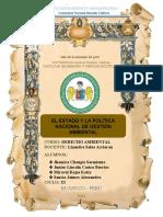 EL ESTADO Y LA POLÍTICA NACIONAL DE GESTIÓN AMBIENTAL (GRUPO N°2)
