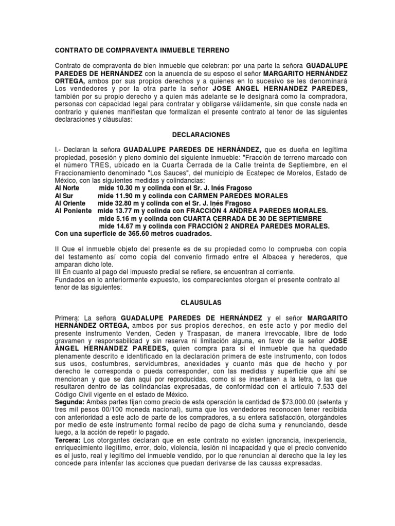 Contrato de compraventa inmueble terreno for Contrato documento