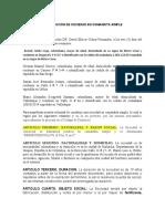 CONSTITUCIÓN DE SOCIEDAD EN COMANDITA SIMPLE