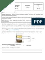 ATIVIDADE AVALIATIVA DE CIÊNCIAS -   1º B - 4º ano