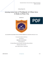 Buying Behaviour of Toothpaste in Urban Area a Study on Pune City
