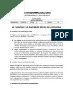 GUIA FILOSOFIA 11-LA FILOSOFIA Y LA DIMENSION SOCIAL DE LA PERSONA
