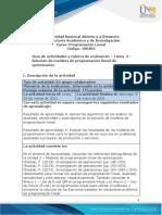 Guia de actividades y Rúbrica de evaluación - Unidad 2 - Tarea 3 - Solución de modelos de programación lineal de optimización
